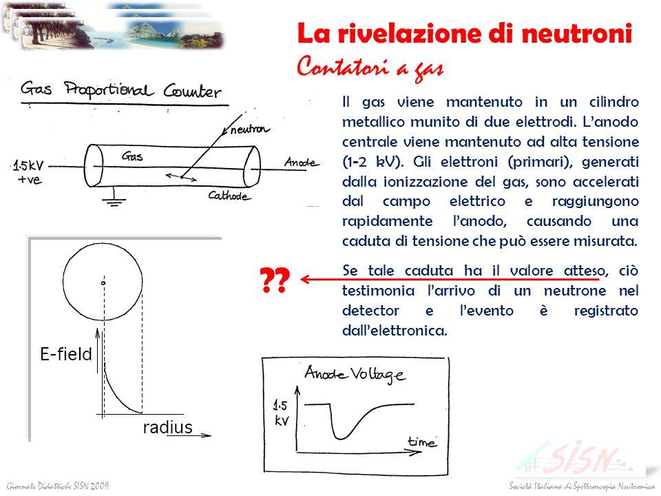 Società Italiana di Spettroscopia NeutronicaGiornate Didattiche SISN 2009 La rivelazione di neutroni Contatori a gas Il gas viene mantenuto in un cili