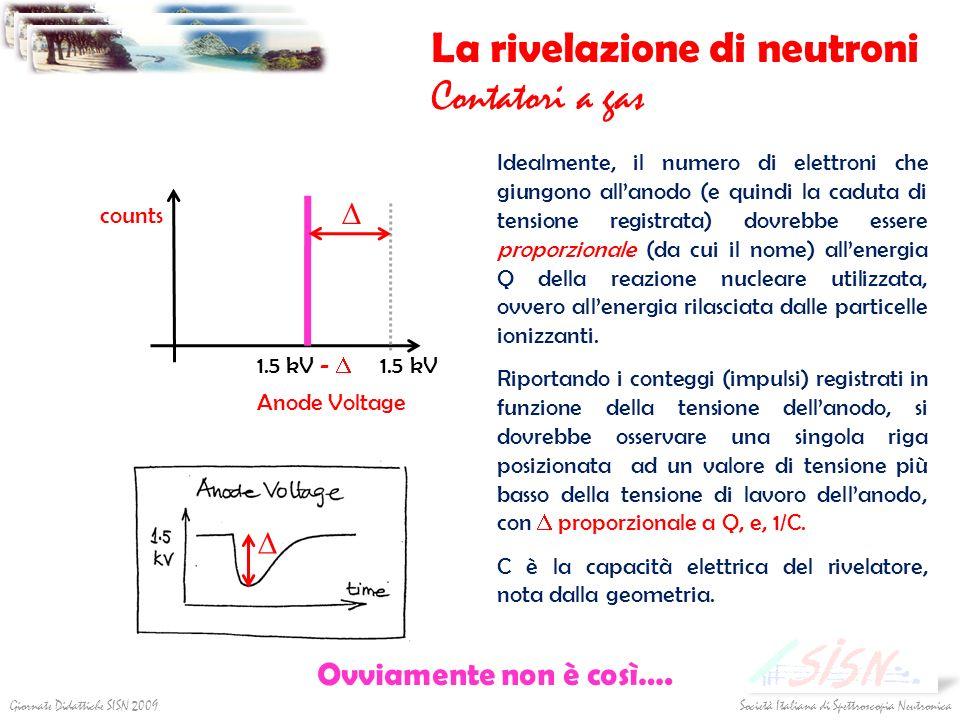 Società Italiana di Spettroscopia NeutronicaGiornate Didattiche SISN 2009 La rivelazione di neutroni Contatori a gas Idealmente, il numero di elettron