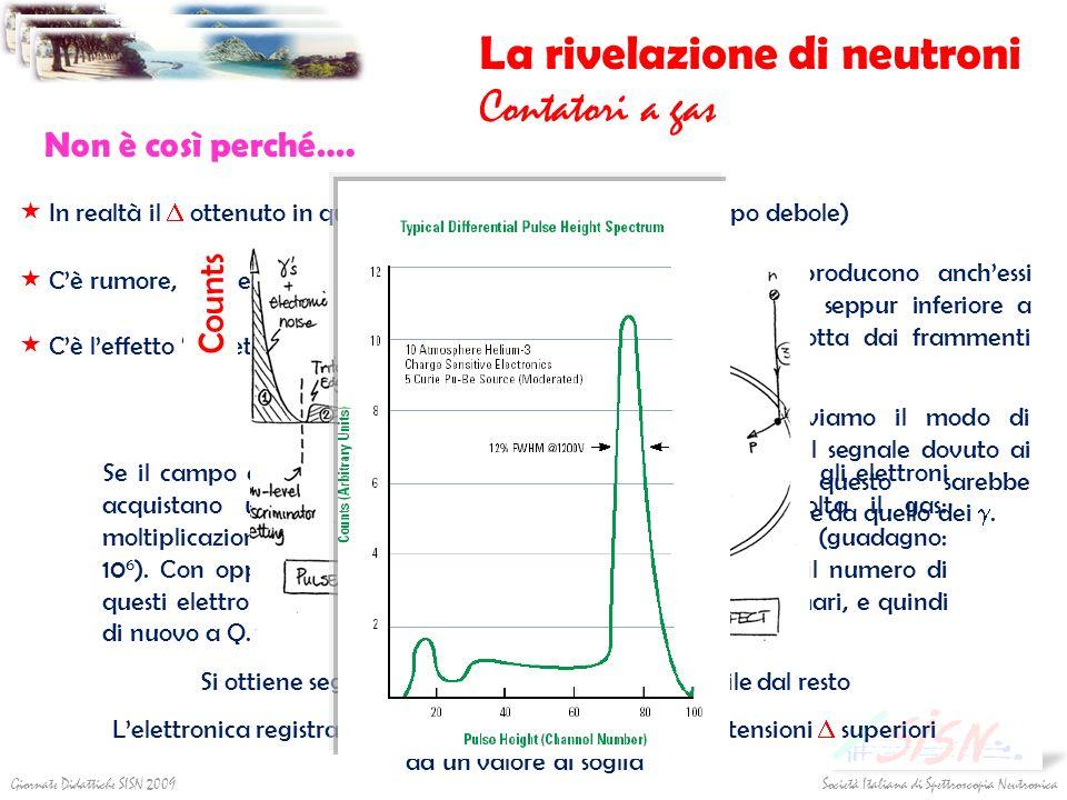 Società Italiana di Spettroscopia NeutronicaGiornate Didattiche SISN 2009 La rivelazione di neutroni Contatori a gas Non è così perché…. I raggi produ