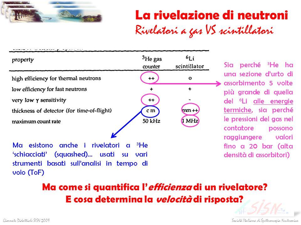Società Italiana di Spettroscopia NeutronicaGiornate Didattiche SISN 2009 La rivelazione di neutroni Rivelatori a gas VS scintillatori Ma esistono anc