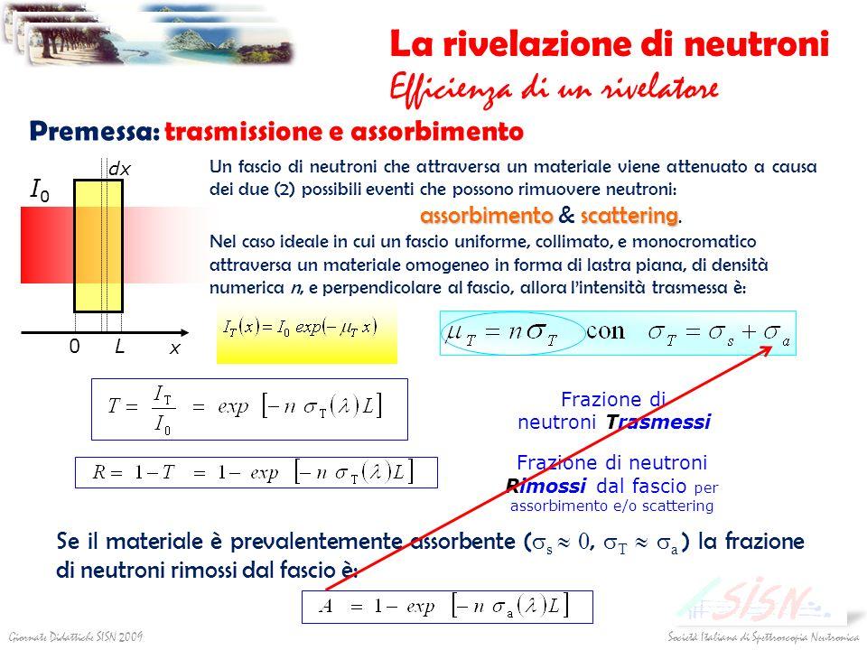 Società Italiana di Spettroscopia NeutronicaGiornate Didattiche SISN 2009 La rivelazione di neutroni Efficienza di un rivelatore 0 L dx x I0I0 Premess