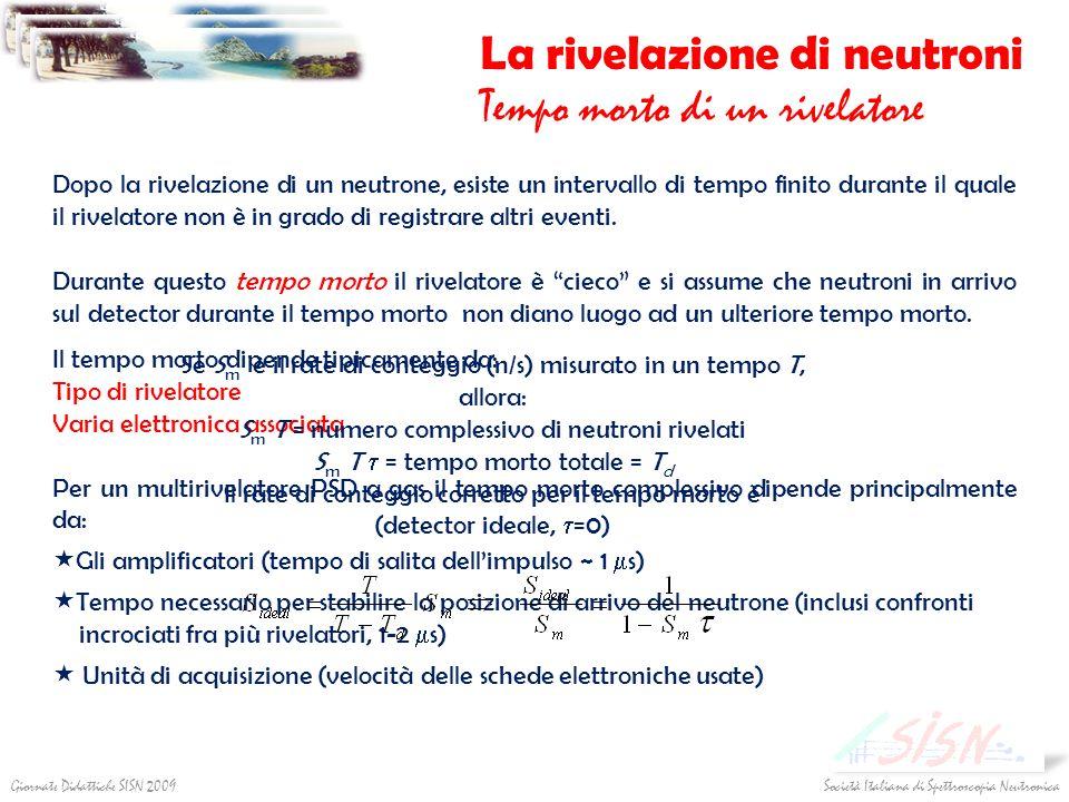 Società Italiana di Spettroscopia NeutronicaGiornate Didattiche SISN 2009 La rivelazione di neutroni Tempo morto di un rivelatore Dopo la rivelazione