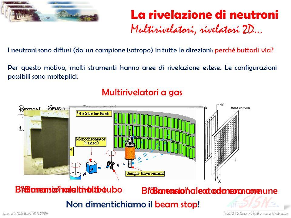 Società Italiana di Spettroscopia NeutronicaGiornate Didattiche SISN 2009 La rivelazione di neutroni Multirivelatori, rivelatori 2D… I neutroni sono d