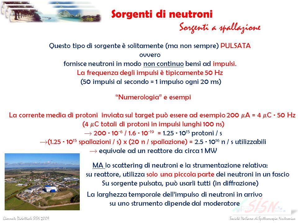 Sorgenti di neutroni Sorgenti a spallazione Società Italiana di Spettroscopia NeutronicaGiornate Didattiche SISN 2009 Questo tipo di sorgente è solita