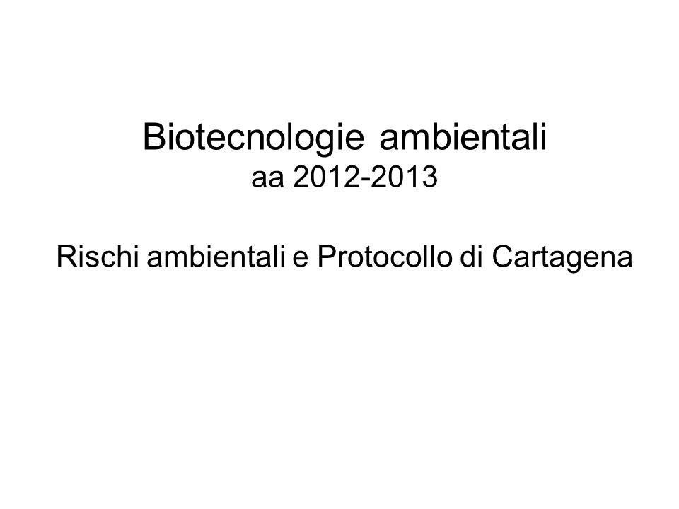 Biotecnologie ambientali aa 2012-2013 Rischi ambientali e Protocollo di Cartagena