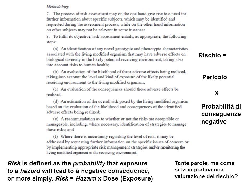 Tante parole, ma come si fa in pratica una valutazione del rischio? Rischio = Pericolo Probabilità di conseguenze negative x Risk is defined as the pr