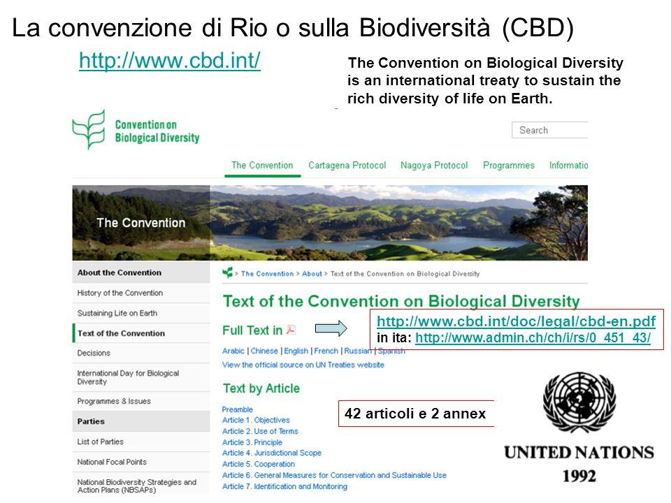 La convenzione di Rio o sulla Biodiversità (CBD) http://www.cbd.int/ http://www.cbd.int/ The Convention on Biological Diversity is an international treaty to sustain the rich diversity of life on Earth.