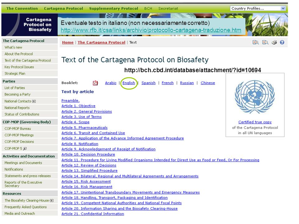 The Cartagena Protocol on Biosafety to the Convention on Biological Diversity An international agreement which aims to ensure the safe handling, transport and use of living modified organisms (LMOs) resulting from modern biotechnology that may have adverse effects on biological diversity, taking also into account risks to human health.