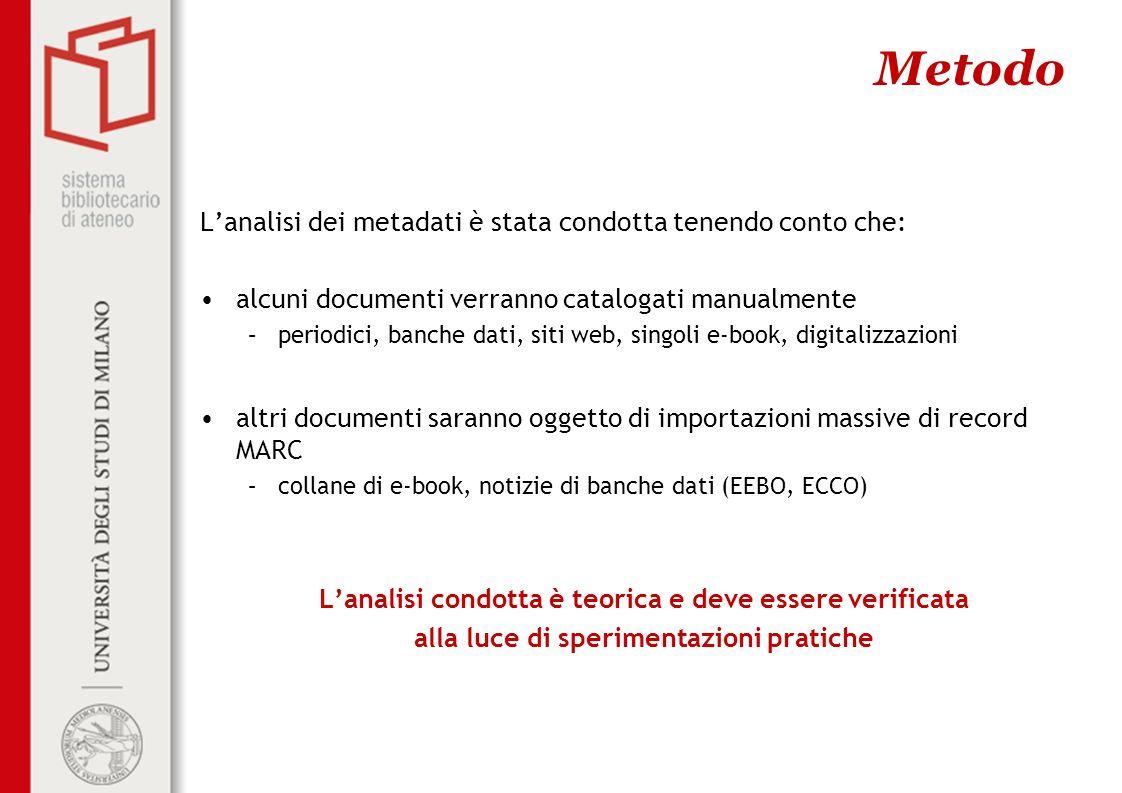 La prossima fase Nella prossima fase ci occuperemo di: concludere lanalisi dei metadati definire le regole per la catalogazione manuale concludere i test di importazione di record MARC analizzare possibili soluzione OPAC (SebinaYou, WuFind)