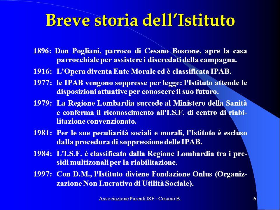 Associazione Parenti ISF - Cesano B.6 Breve storia dellIstituto 1896: Don Pogliani, parroco di Cesano Boscone, apre la casa parrocchiale per assistere i diseredati della campagna.