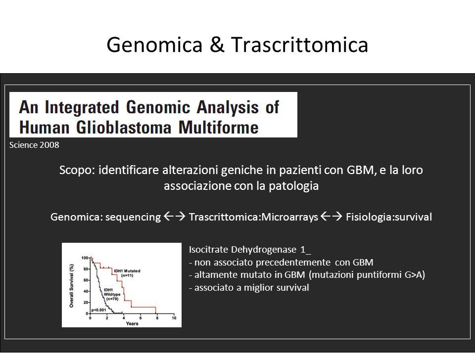 Genomica & Trascrittomica Science 2008 Scopo: identificare alterazioni geniche in pazienti con GBM, e la loro associazione con la patologia Genomica: