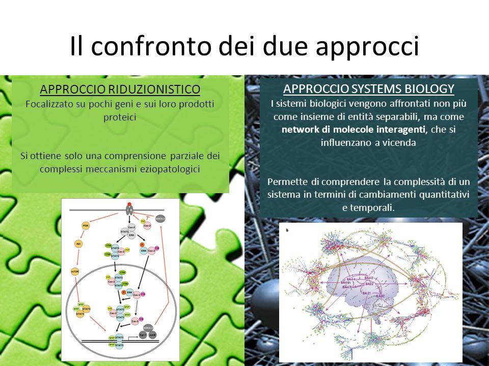 Il confronto dei due approcci APPROCCIO RIDUZIONISTICO Focalizzato su pochi geni e sui loro prodotti proteici Si ottiene solo una comprensione parzial