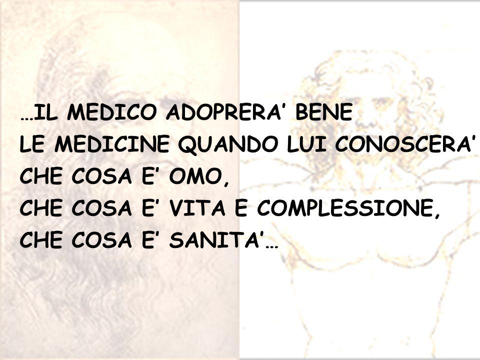 …IL MEDICO ADOPRERA BENE LE MEDICINE QUANDO LUI CONOSCERA CHE COSA E OMO, CHE COSA E VITA E COMPLESSIONE, CHE COSA E SANITA…