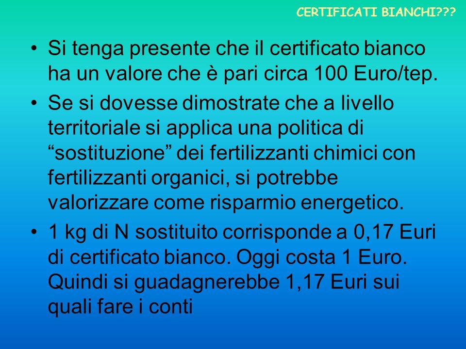 Si tenga presente che il certificato bianco ha un valore che è pari circa 100 Euro/tep. Se si dovesse dimostrate che a livello territoriale si applica