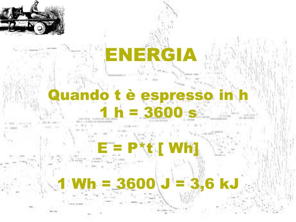 ENERGIA Quando t è espresso in h 1 h = 3600 s E = P*t [ Wh] 1 Wh = 3600 J = 3,6 kJ