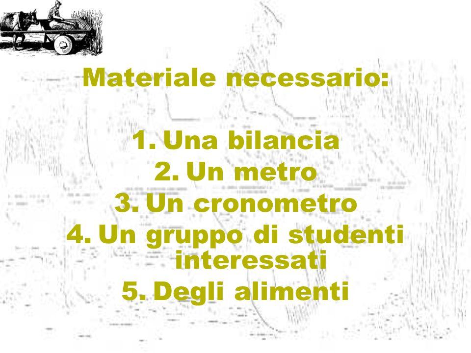 Materiale necessario: 1.Una bilancia 2.Un metro 3.Un cronometro 4.Un gruppo di studenti interessati 5.Degli alimenti