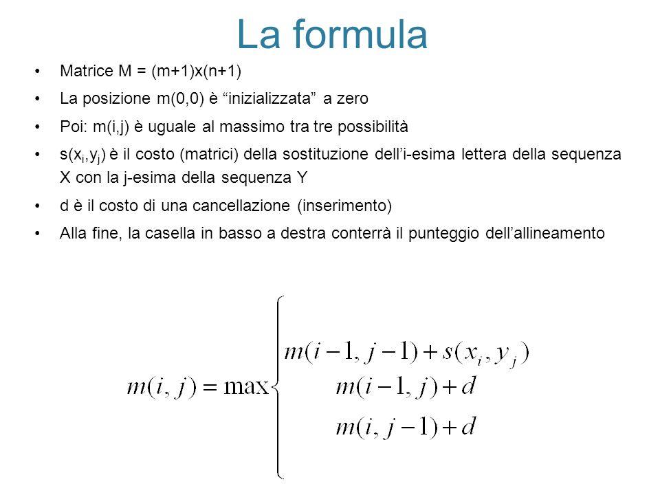 La formula Matrice M = (m+1)x(n+1) La posizione m(0,0) è inizializzata a zero Poi: m(i,j) è uguale al massimo tra tre possibilità s(x i,y j ) è il cos
