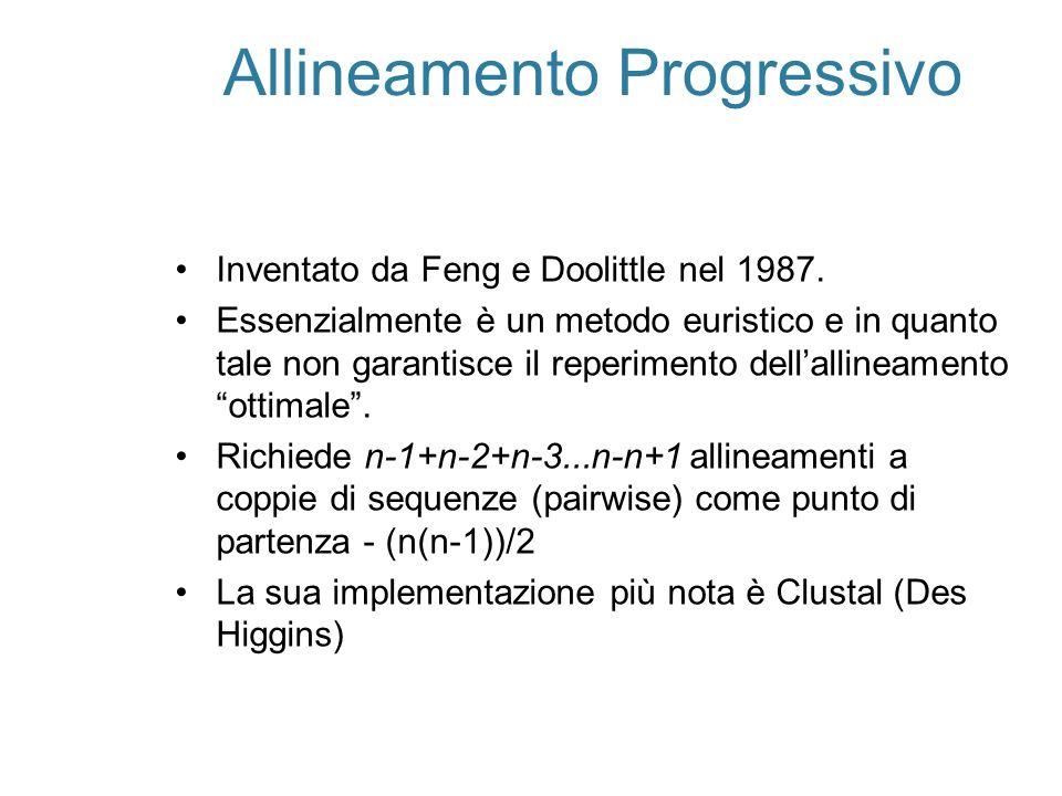 Allineamento Progressivo Inventato da Feng e Doolittle nel 1987. Essenzialmente è un metodo euristico e in quanto tale non garantisce il reperimento d