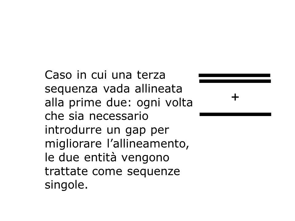 Caso in cui una terza sequenza vada allineata alla prime due: ogni volta che sia necessario introdurre un gap per migliorare lallineamento, le due ent