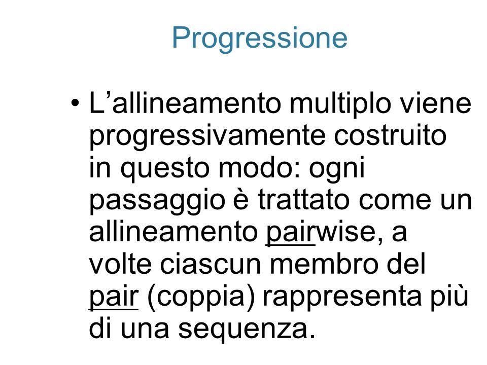 Progressione Lallineamento multiplo viene progressivamente costruito in questo modo: ogni passaggio è trattato come un allineamento pairwise, a volte