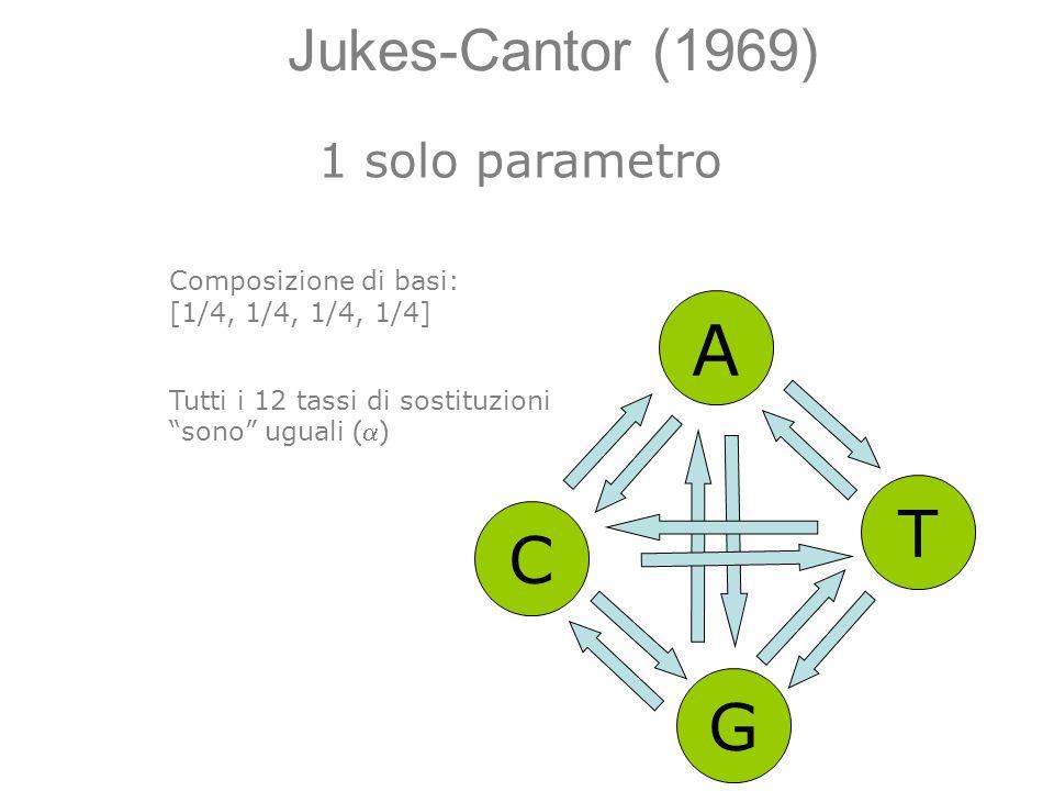 Jukes-Cantor (1969) A C G T Composizione di basi: [1/4, 1/4, 1/4, 1/4] Tutti i 12 tassi di sostituzioni sono uguali ( ) 1 solo parametro
