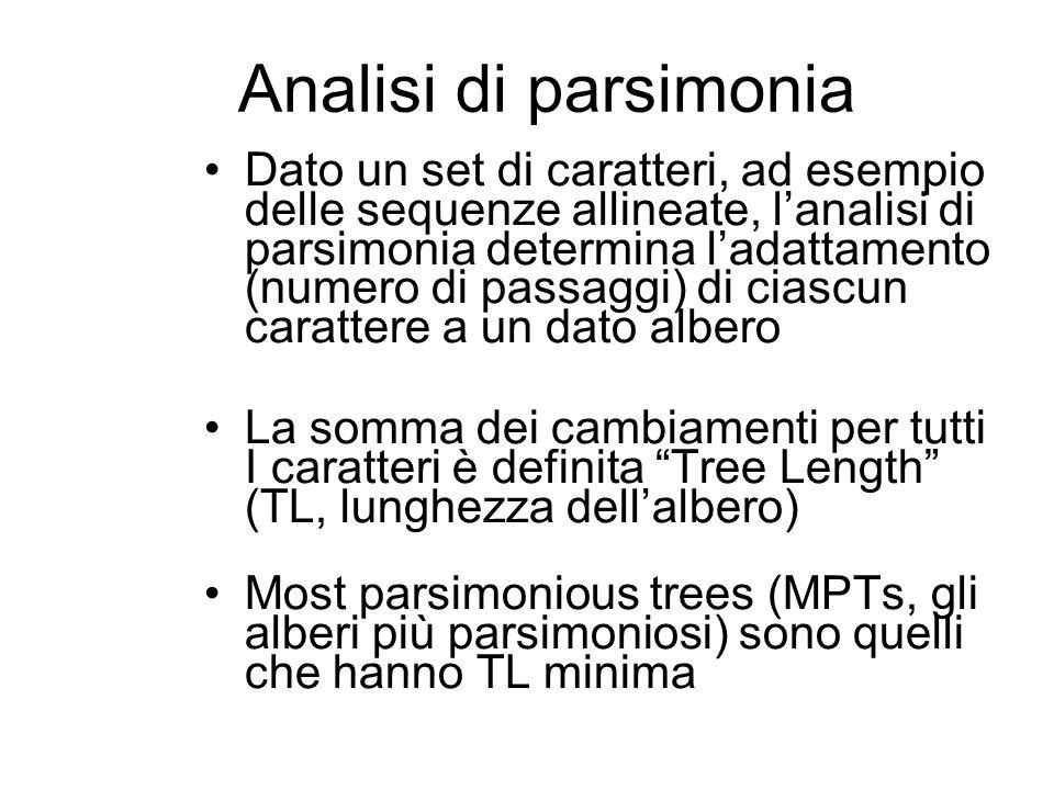 Analisi di parsimonia Dato un set di caratteri, ad esempio delle sequenze allineate, lanalisi di parsimonia determina ladattamento (numero di passaggi