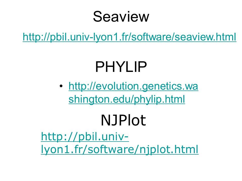 PHYLIP http://evolution.genetics.wa shington.edu/phylip.htmlhttp://evolution.genetics.wa shington.edu/phylip.html http://pbil.univ- lyon1.fr/software/