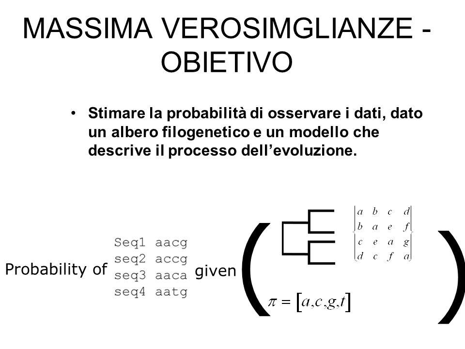 MASSIMA VEROSIMGLIANZE - OBIETIVO Stimare la probabilità di osservare i dati, dato un albero filogenetico e un modello che descrive il processo dellev
