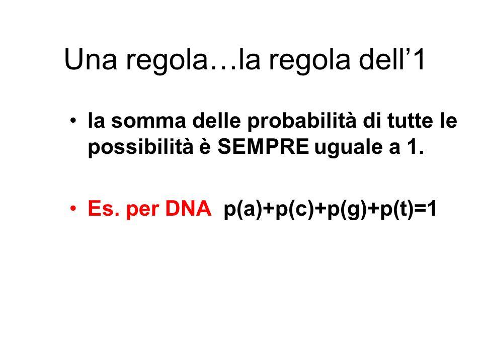 Una regola…la regola dell1 la somma delle probabilità di tutte le possibilità è SEMPRE uguale a 1. Es. per DNA p(a)+p(c)+p(g)+p(t)=1