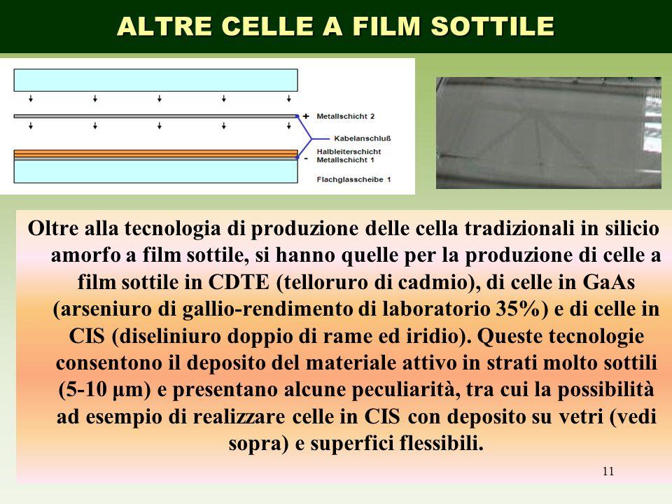 Oltre alla tecnologia di produzione delle cella tradizionali in silicio amorfo a film sottile, si hanno quelle per la produzione di celle a film sotti