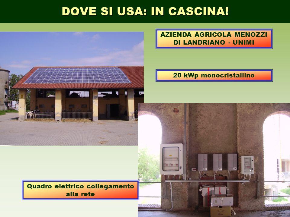 DOVE SI USA: IN CASCINA! 20 kWp monocristallino Quadro elettrico collegamento alla rete AZIENDA AGRICOLA MENOZZI DI LANDRIANO - UNIMI