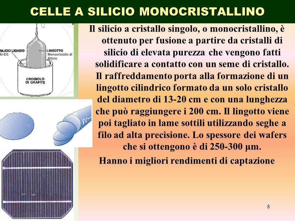 Il silicio a cristallo singolo, o monocristallino, è ottenuto per fusione a partire da cristalli di silicio di elevata purezza che vengono fatti solid