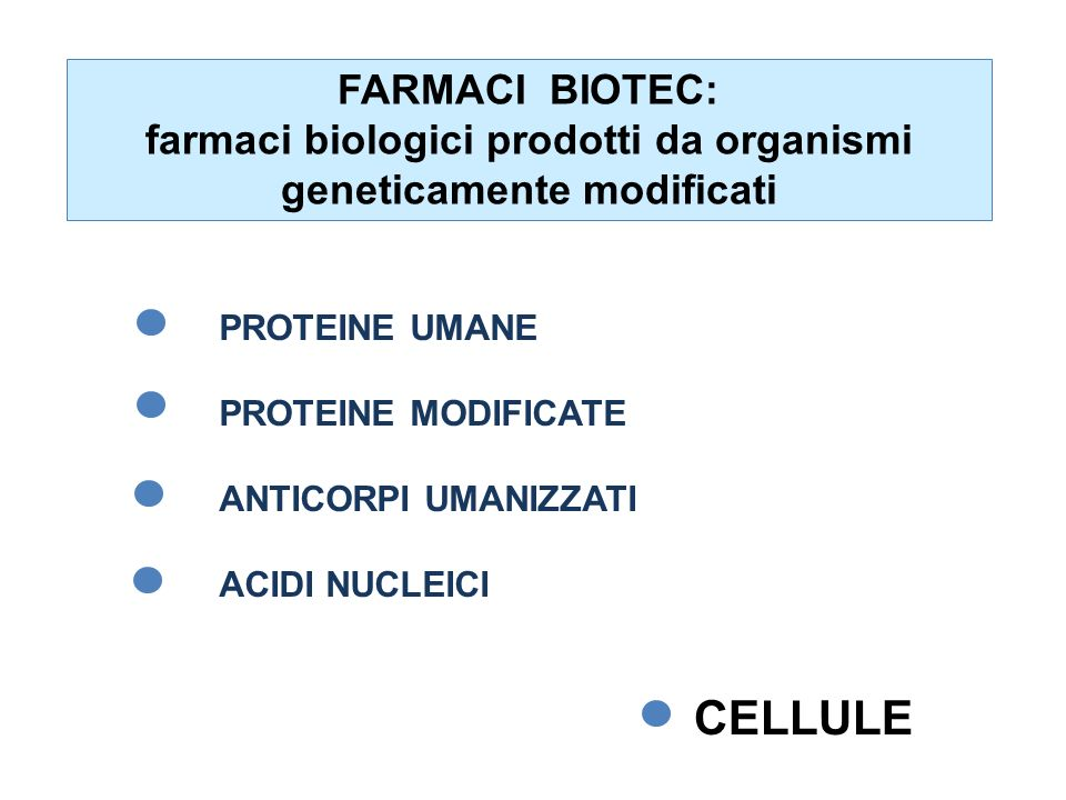 FARMACI BIOTEC: farmaci biologici prodotti da organismi geneticamente modificati PROTEINE UMANE PROTEINE MODIFICATE ANTICORPI UMANIZZATI ACIDI NUCLEIC