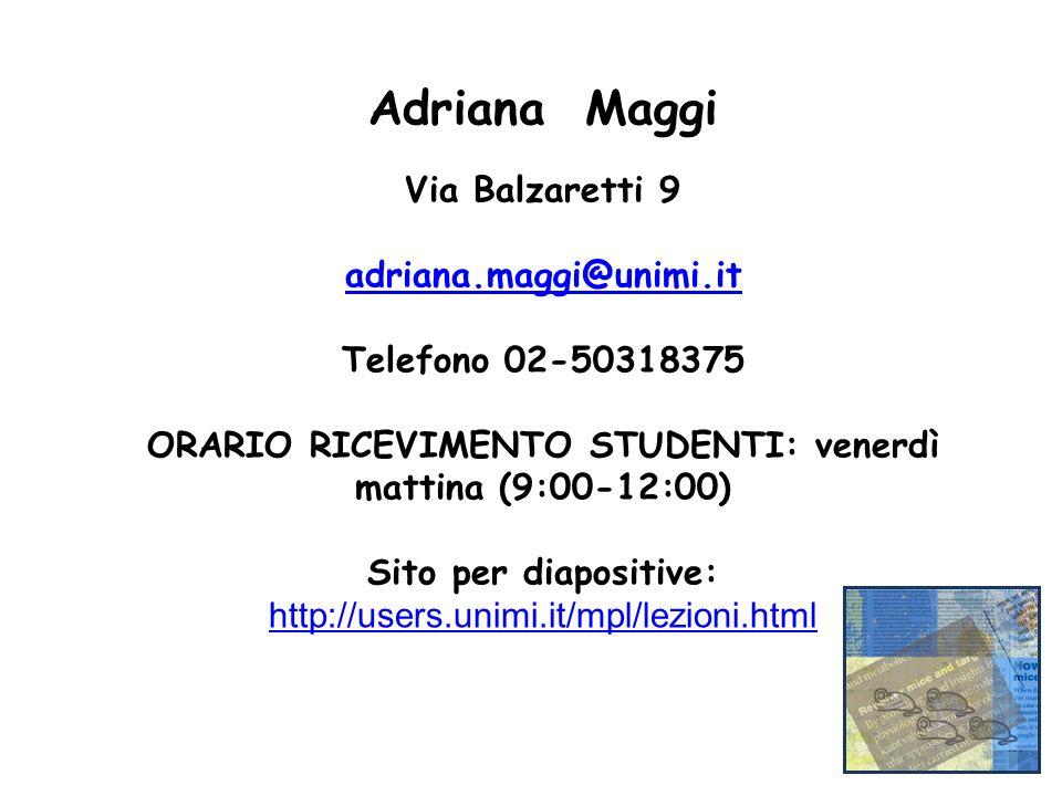 Adriana Maggi Via Balzaretti 9 adriana.maggi@unimi.it Telefono 02-50318375 ORARIO RICEVIMENTO STUDENTI: venerdì mattina (9:00-12:00) Sito per diaposit
