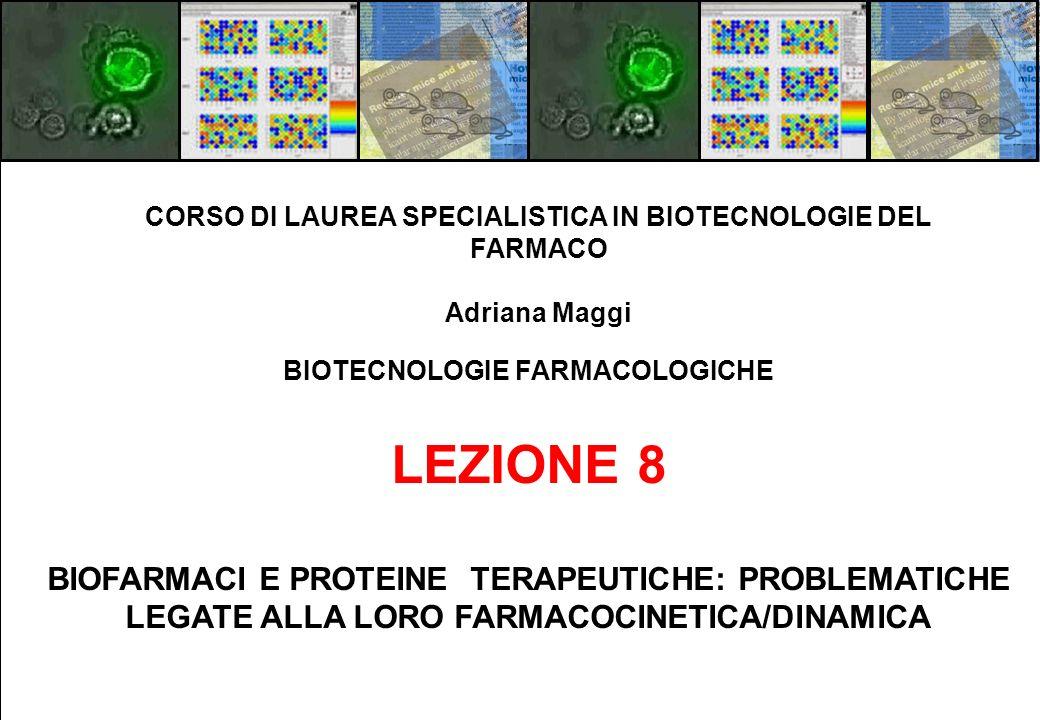 BIOTECNOLOGIE FARMACOLOGICHE LEZIONE 8 BIOFARMACI E PROTEINE TERAPEUTICHE: PROBLEMATICHE LEGATE ALLA LORO FARMACOCINETICA/DINAMICA CORSO DI LAUREA SPE