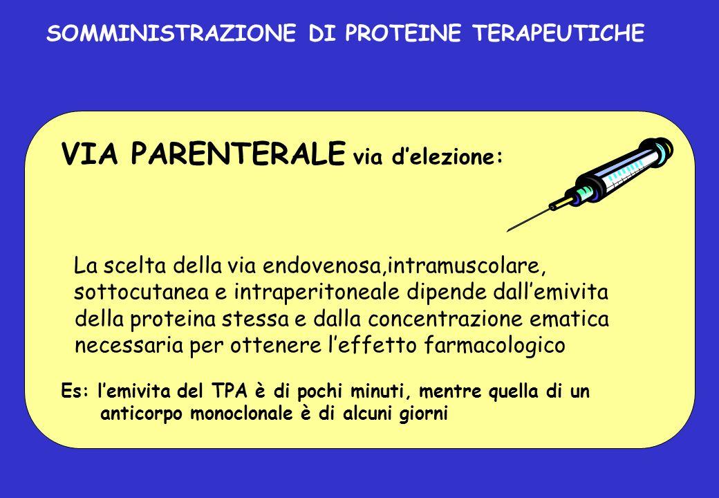 VIA PARENTERALE via delezione: La scelta della via endovenosa,intramuscolare, sottocutanea e intraperitoneale dipende dallemivita della proteina stess