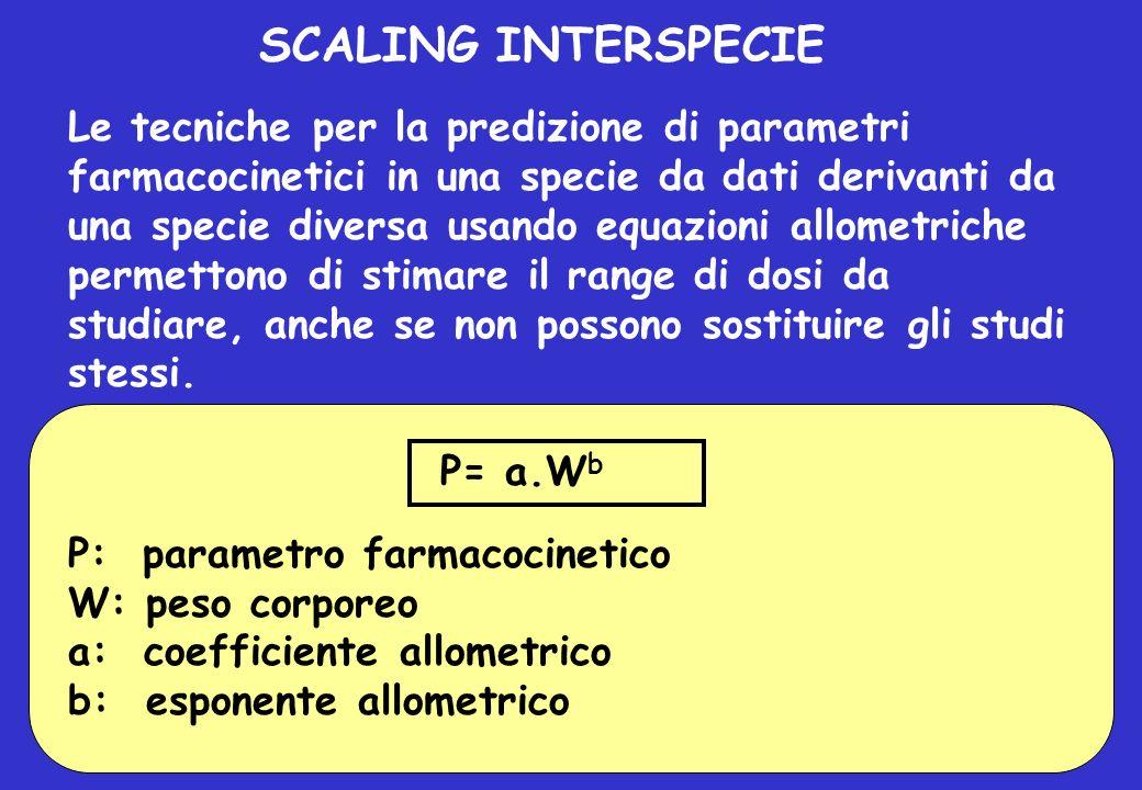 SCALING INTERSPECIE Le tecniche per la predizione di parametri farmacocinetici in una specie da dati derivanti da una specie diversa usando equazioni