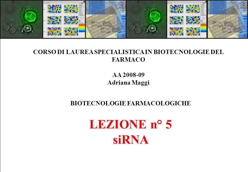 BIOTECNOLOGIE FARMACOLOGICHE LEZIONE n° 5 siRNA CORSO DI LAUREA SPECIALISTICA IN BIOTECNOLOGIE DEL FARMACO AA 2008-09 Adriana Maggi