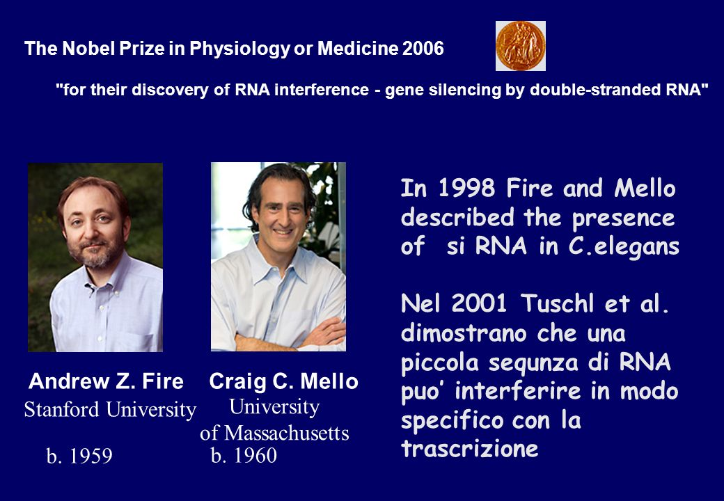 The Nobel Prize in Physiology or Medicine 2006 for their discovery of RNA interference - gene silencing by double-stranded RNA Andrew Z.