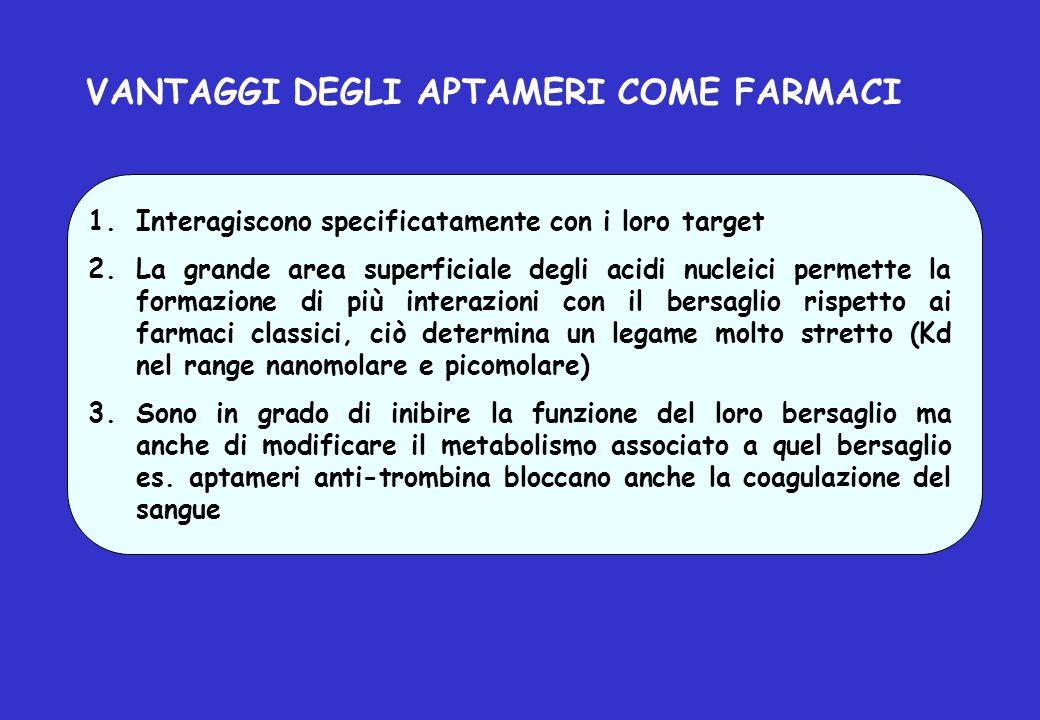 VANTAGGI DEGLI APTAMERI COME FARMACI 1.Interagiscono specificatamente con i loro target 2.La grande area superficiale degli acidi nucleici permette la