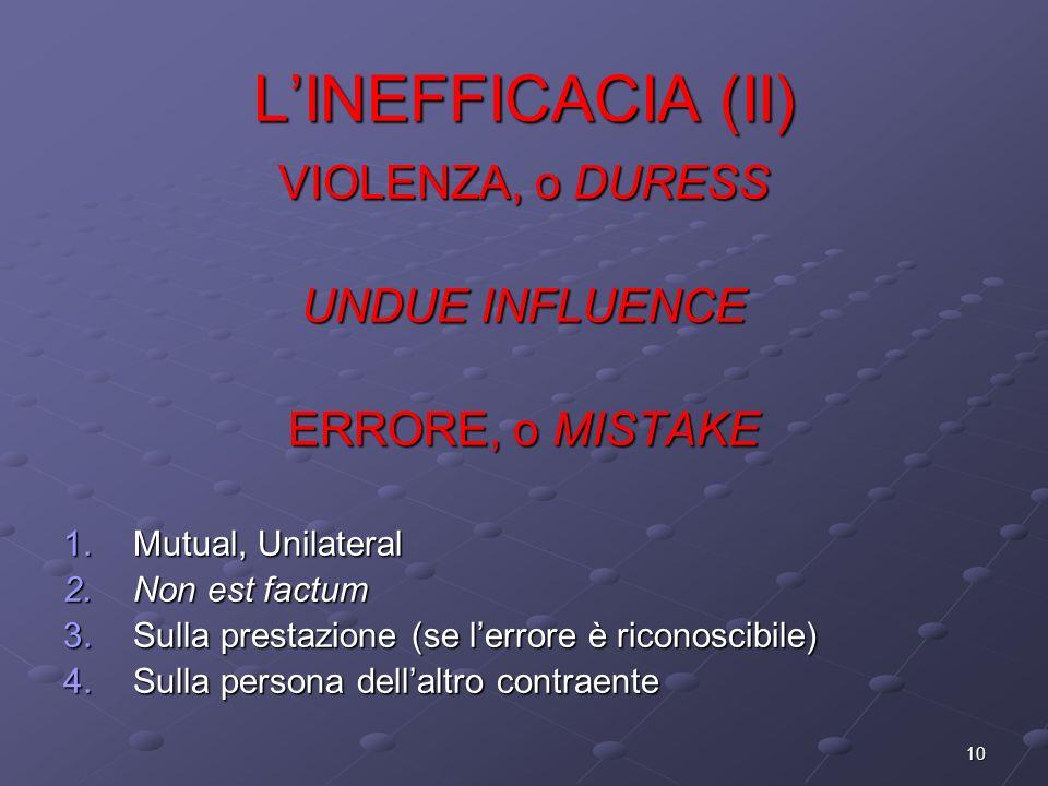 10 LINEFFICACIA (II) VIOLENZA, o DURESS UNDUE INFLUENCE ERRORE, o MISTAKE 1.Mutual, Unilateral 2.Non est factum 3.Sulla prestazione (se lerrore è rico