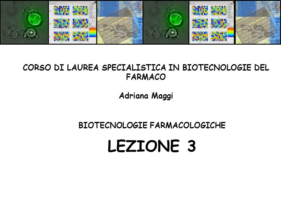 BIOTECNOLOGIE FARMACOLOGICHE LEZIONE 3 CORSO DI LAUREA SPECIALISTICA IN BIOTECNOLOGIE DEL FARMACO Adriana Maggi