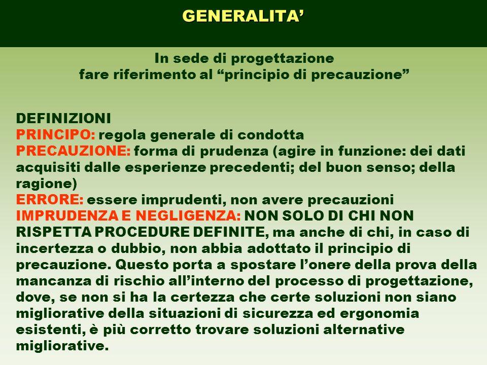 In sede di progettazione fare riferimento al principio di precauzione DEFINIZIONI PRINCIPO: regola generale di condotta PRECAUZIONE: forma di prudenza
