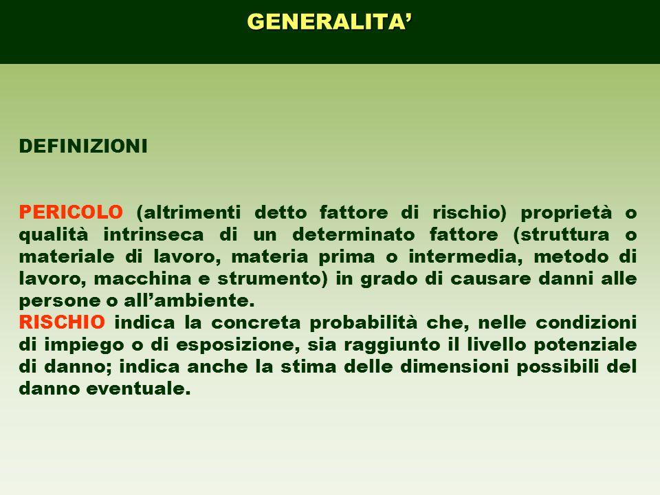DEFINIZIONI PERICOLO (altrimenti detto fattore di rischio) proprietà o qualità intrinseca di un determinato fattore (struttura o materiale di lavoro,