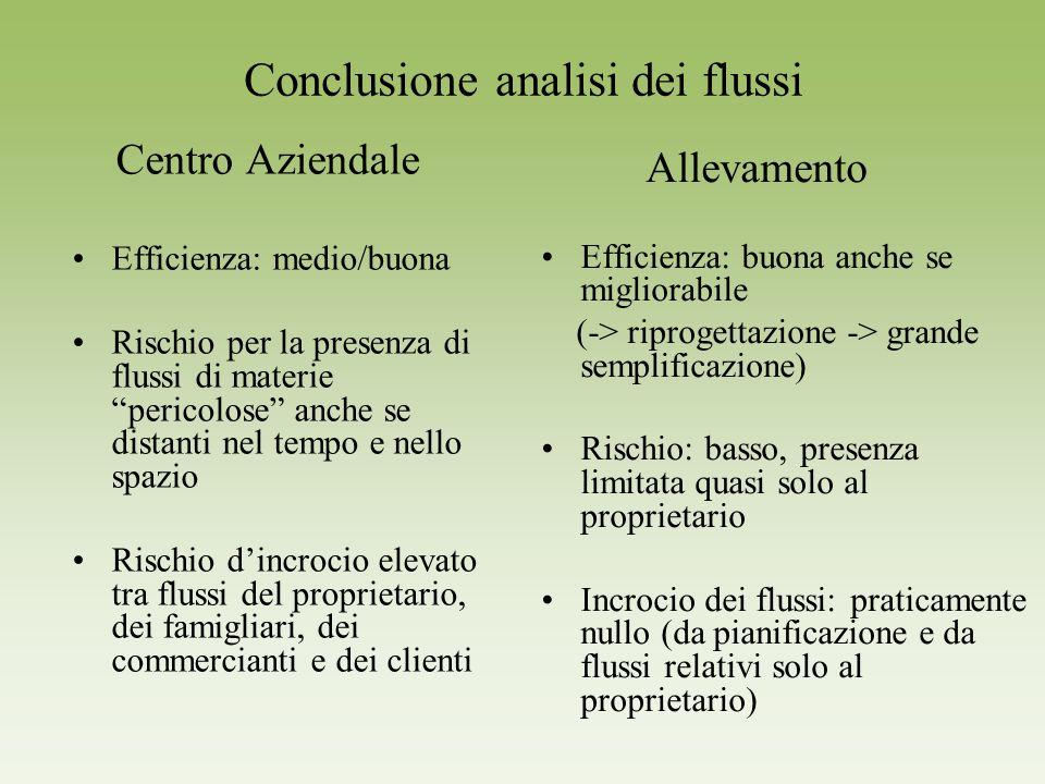 Conclusione analisi dei flussi Centro Aziendale Efficienza: medio/buona Rischio per la presenza di flussi di materie pericolose anche se distanti nel