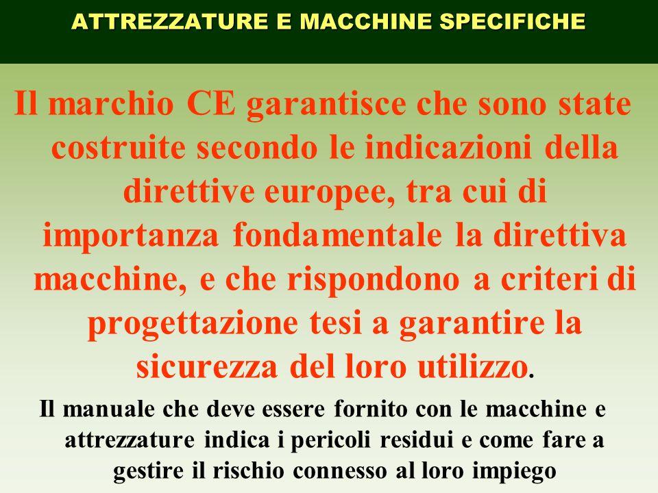 Il marchio CE garantisce che sono state costruite secondo le indicazioni della direttive europee, tra cui di importanza fondamentale la direttiva macc