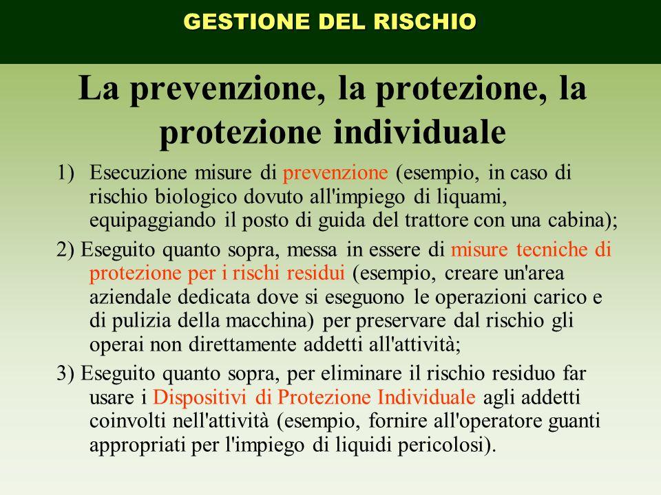 La prevenzione, la protezione, la protezione individuale 1)Esecuzione misure di prevenzione (esempio, in caso di rischio biologico dovuto all'impiego