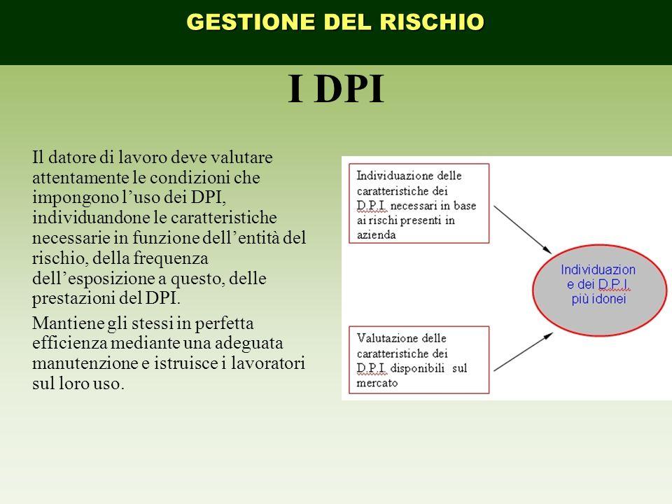 I DPI Il datore di lavoro deve valutare attentamente le condizioni che impongono luso dei DPI, individuandone le caratteristiche necessarie in funzione dellentità del rischio, della frequenza dellesposizione a questo, delle prestazioni del DPI.