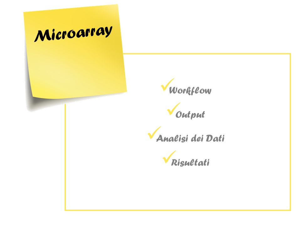 Workflow Output Analisi dei Dati Risultati Microarray