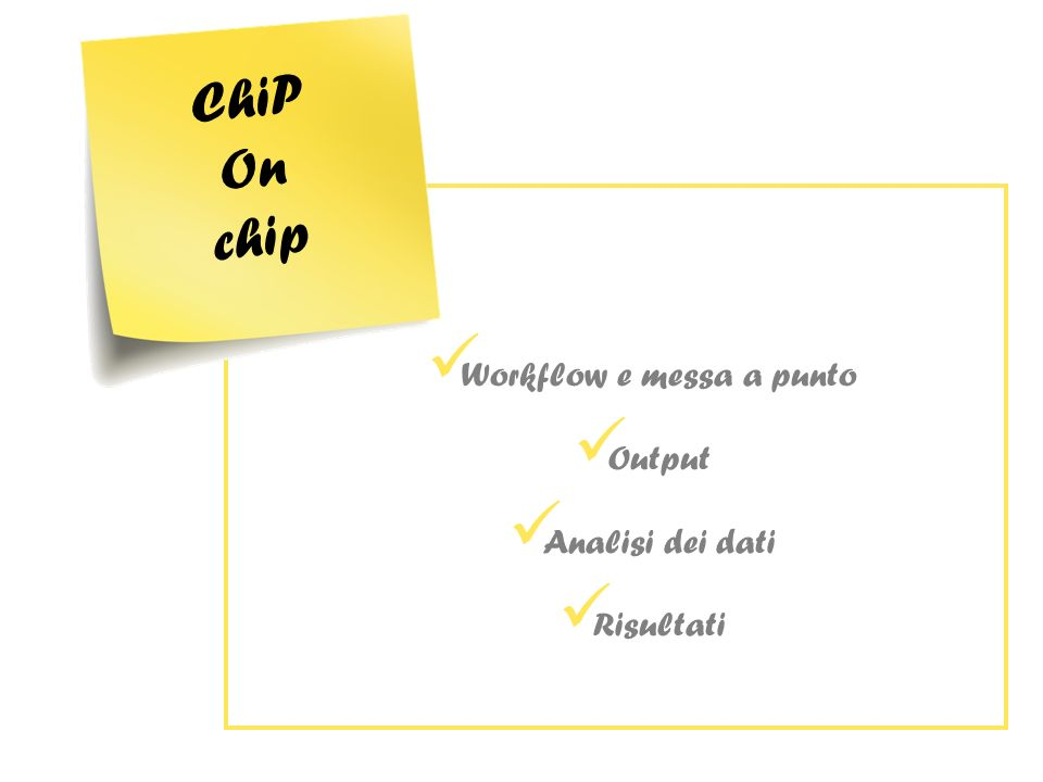 Workflow e messa a punto Output Analisi dei dati Risultati ChiP On chip